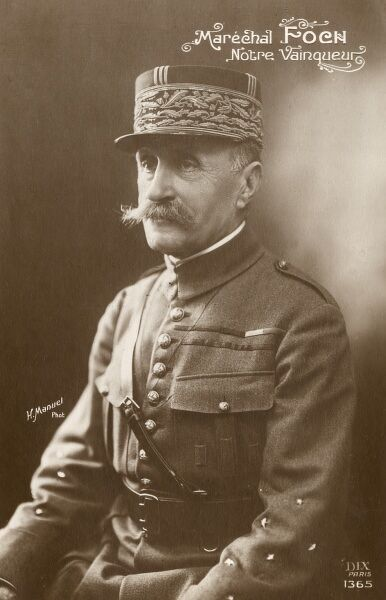 Marshal Ferdinand Foch (1851-1929), General in the French Army, appointed supreme commander of the Allied armies during the First World War. Photograph by H Manuel on a postcard, with the caption 'Notre Vainqueur' (Our Conqueror). Date