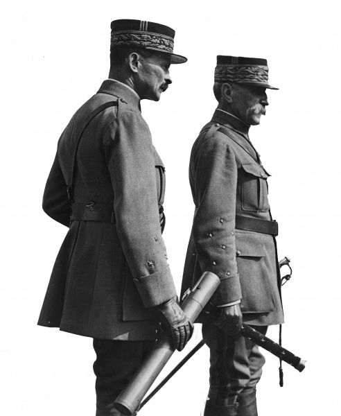 Marshal Ferdinand Foch (1851-1929), General in the French Army, appointed supreme commander of the Allied armies during the First World War. Seen here (right) with General Maxime Weygand (1867-1965), French military commander. Date: circa 1918