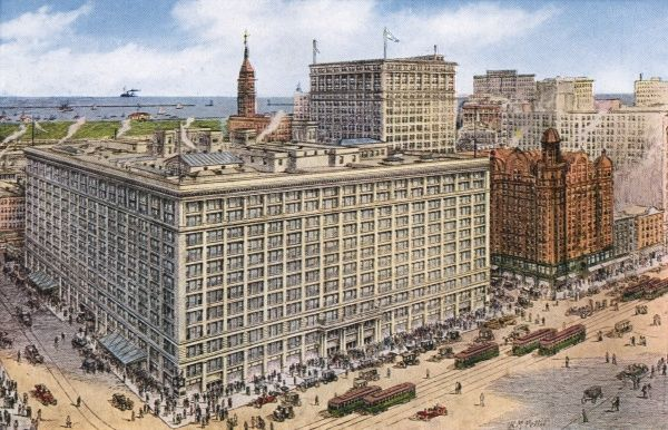The world's largest department store occupies an entire block in central Chicago - 45 acres (18+ hectares) of floor space, employing about 10000 staff. Date: 1916