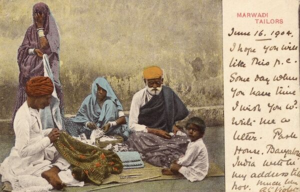 India - Manufacture of Clothing Fabric - Marwari Tailors. Marwaris are a Rajasthani people (an Indo-Aryan ethnic group), who inhabit the Rajasthan region of India. Date: 1904
