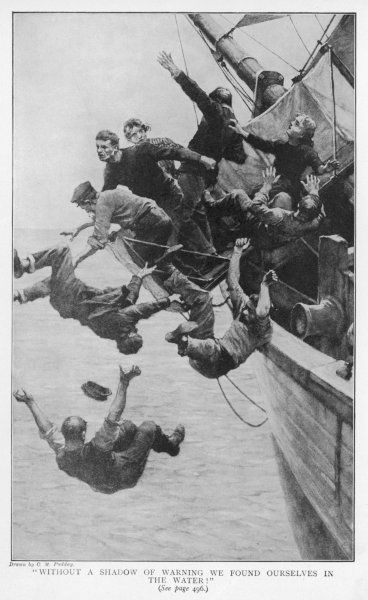 ABEL FOSDYK'S STORY The crew fall into the water when 'Baby's quarter-deck', built for Captain Briggs' daughter, collapses (almost certainly a hoax)