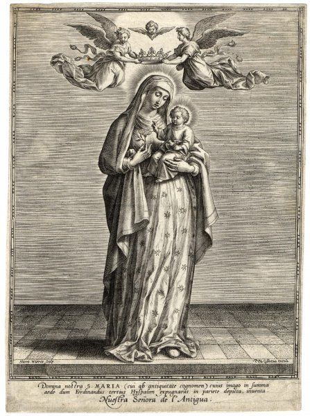 Depicted showing the infant Jesus a single rose. Two angels hover above holding a crown over her head. Her gown is covered in stars