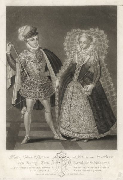 MARY,QUEEN OF SCOTS with Henry Stuart, lord Darnley, her cousin and husband, in 1565 : though she bore him a son (the future James I) she was disgusted by his debauchery