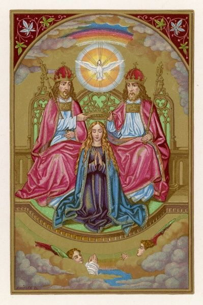 Virgin mother of Jesus ; depicted in the process of being crowned Queen of Heaven by God, Jesus and the Holy Spirit