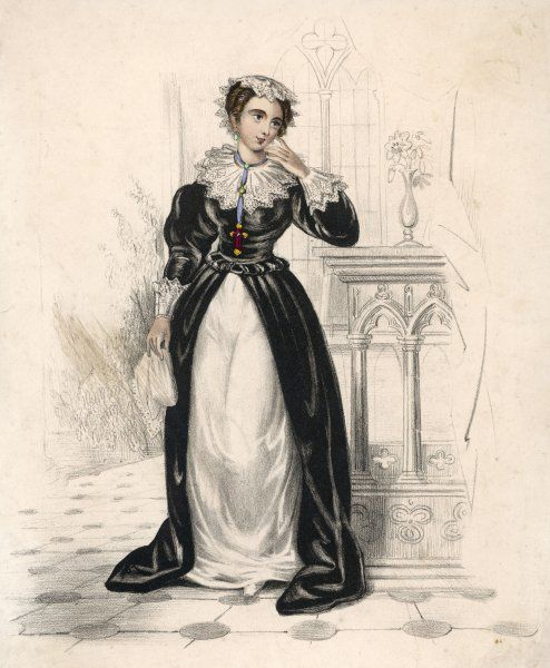 Mary, Queen of Scotland, in a black and white dress with lace at the collar and cuffs