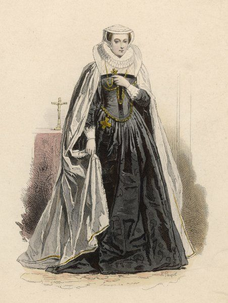 Mary, Queen of Scotland, in a black and white costume