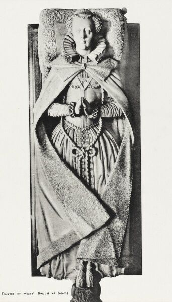 The carved figure of Mary Queen of Scots in Westminster Abbey