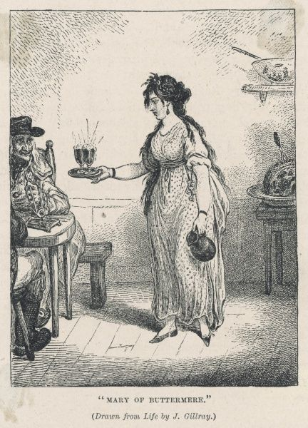 MARY ROBINSON, known as the Maid of Buttermere, daughter of the landlord of the Fish inn, seduced by Hatfield, con man, hanged for forgery 1803. Celebrated by Wordsworth