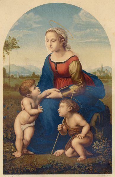 Mary with her two sons, John and Jesus (painting known as La Belle Jardiniere, now in the Louvre)