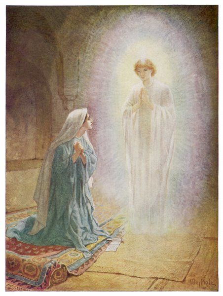 Mary learns from the angel Gabriel that she is going to be the mother of Jesus