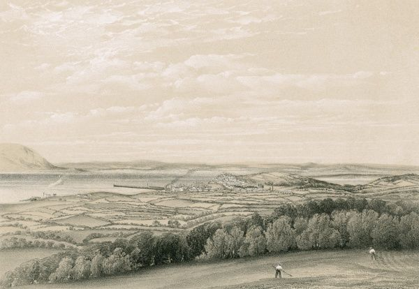 Maryport, Cumbria, on the Solway Firth, viewed from the south Date: 1867