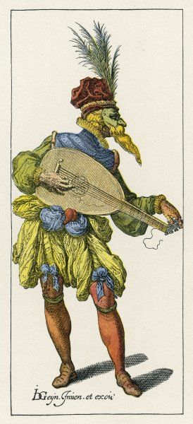 A masked performer plays the lute