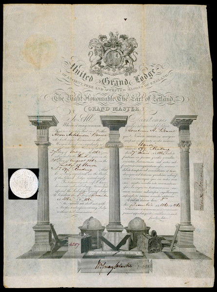 Membership certificate of the UNITED GRAND LODGE of England