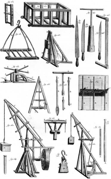 Equipment used by builders in the 18th century including cranes, saws, winches, scaffolding, etc. Date: Circa 1760