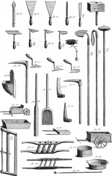 Various tools used by builders in the 18th century : trowels, spades, saws, baskets, spades, wheelbarrows, hammers, etc. Date: Circa 1760