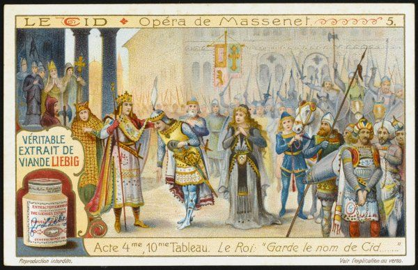 Act four, 10th tableau : The king, grateful to Rodrigo for delivering Spain from the Moors, bestows on him the name of 'El Cid', which means 'master warrior&#39