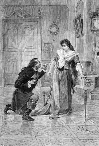 A dramatic moment in the first Paris production : Act III - Werther (M.Ibos) throws himself at the feet of Charlotte (Mlle. Delna) Date: first performed 1892