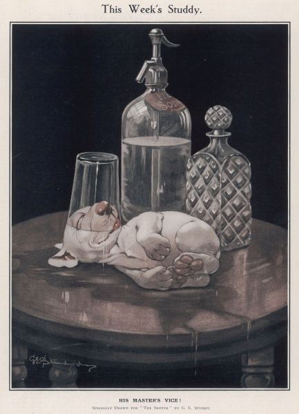 Bonzo finds that consumption of his master's favourite drink has an unforeseen effect. A small puppy lies in a deliciously drunken stupour after helping himself to perhaps some gin or whiskey from a decanter on a table. Credit line must read