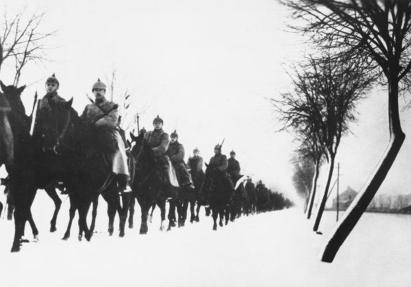 German cavalry advance during the Second Battle of the Masurian Lakes, also known as the Winter Battle of the Masurian Lakes. This was part of Hindenberg's plan to push Russia back beyond the Vistula river with the aim of forcing Russia out of the war