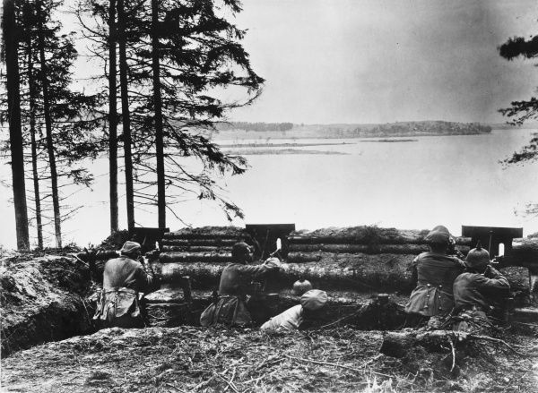 German troops look out across the Masurian Lakes in East Prussia, the scene of combat between Russian and German forces in the early months of World War I