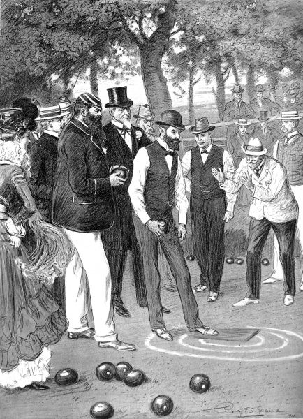 Illustration showing a match of bowls at the Crystal Palace in London during June 1901. The players shown are (from left to right) Dr. W.G. Grace (large beard), Mr. John Young (Australia), Mr. J.W. Dingles (New Zealand) and Mr. Owen McSolly (Abbey Park Club