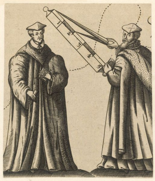 Two scholars use a mathematical device, perhaps to help them in some surveying or astronomical calculations