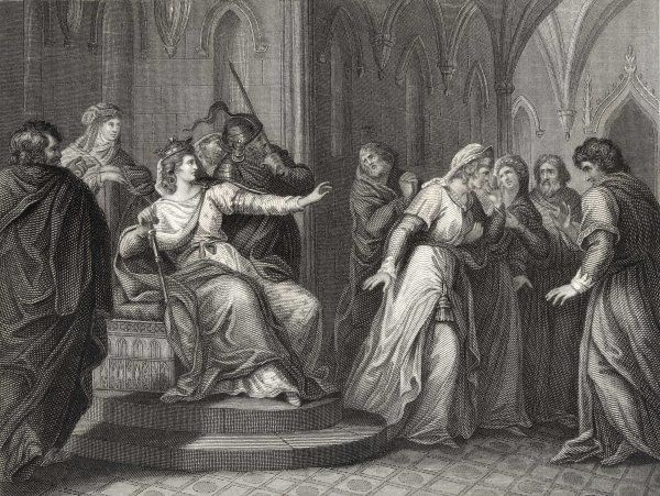 The Empress Matilda, daughter of Henry I, refuses the plea of King Stephen's wife, Matilda, to release him