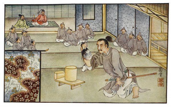 To save his master's honour, Matsuo cuts off his own son's head and convinces the Emperor that Michizane is innocent (it's a very complicated story!)