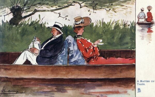 'A Matter of Taste' A different approach to having a drink between these two boating enthusiasts. The portly older gentleman preferring a whiskey and soda, while his wife on the seat backing his prefers an elegant cup of tea!