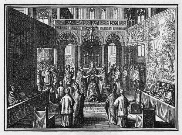 Matthias is crowned Holy Roman Emperor at Frankfurt. The Imperial crown is placed on his head