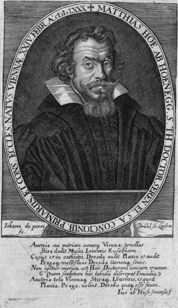 MATTHIAS HOE VON HOENEGG German churchman, involved in theological controversy. Date: 1580 - 1645