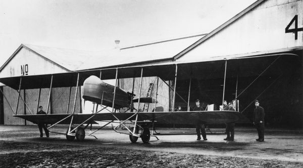 A Maurice Farman MF11 Shorthorn biplane on an airfield during the First World War. It was a French reconnaissance and light bomber aircraft developed by the Farman Aviation Works, used by the French and the British. Date: 1917