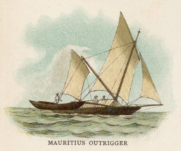 Outrigger sailing boat of Mauritius, Indian Ocean. Date: circa 1880