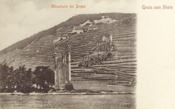 The Mouse Tower (Mauseturm) - a stone tower on a small island in the Rhine, outside Bingen am Rhein, Germany. Date: circa 1902