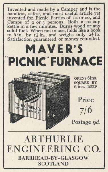 Advertisement for Maver's Picnic Furnace. The handiest, safest & most useful article yet invented for Picnic Parties. Date: June 1931