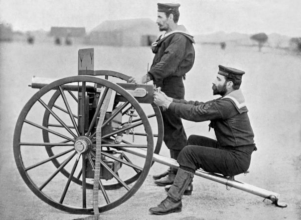 THE MAXIM GUN used by Petty Officers of the Royal Navy's HMS 'Excellent&#39
