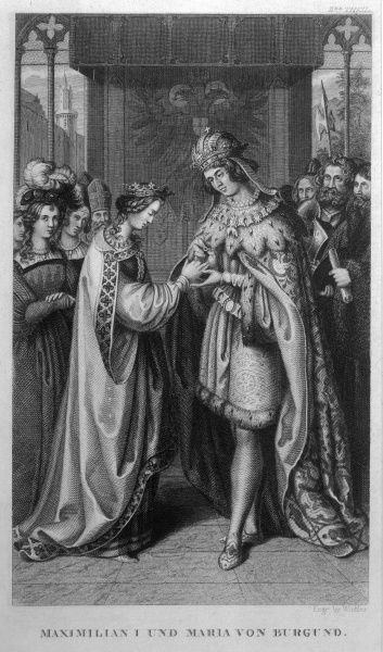 Maximilian I and Maria of Burgundy married. He places a ring on her finger