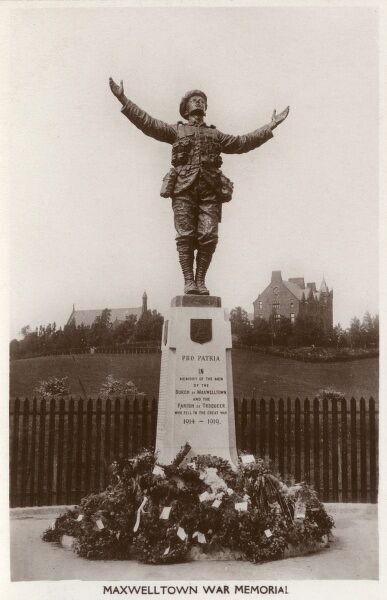 Maxwelltown War Memorial - in memory of the soldiers of the Burgh of Maxwelltown and the Parish of Troqueer, Dumfries and Galloway, Scotland, who fell during WWI. Sculpture by Henry Price. Date: circa 1910s