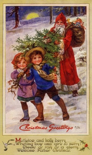 Christmas Greetings -- two children carrying a Christmas tree through the snow are followed by Santa Claus with his sack of presents