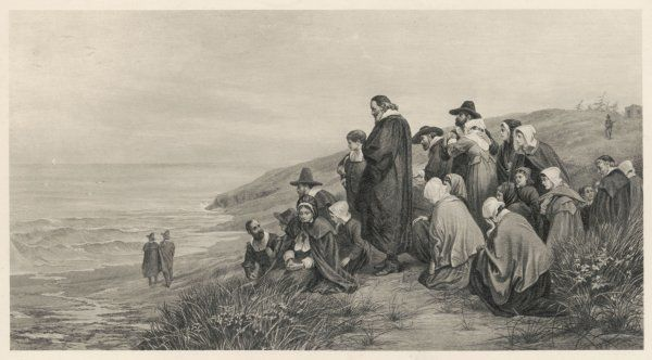 The Pilgrim Fathers watch the Mayflower sail home to England