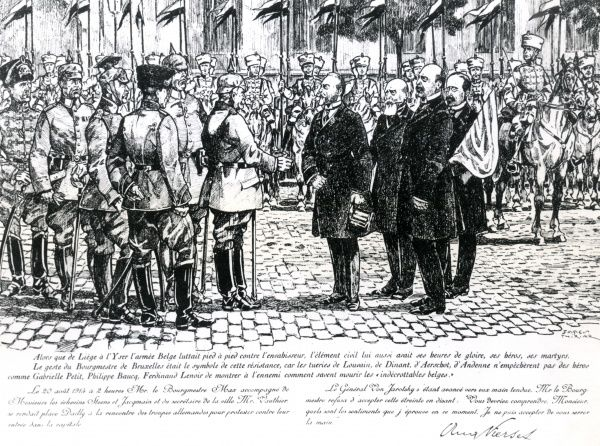 The heroic Mayor of Brussels, Adolphe Max, together with his colleagues Steens, Jacqmain and Vauthier, refuses to shake the hand of General Von Jarotsky, leader of the German army, who are invading Brussels during the early part of the First World War