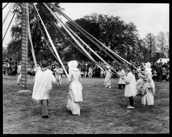 The children of Ickwell, Bedfordshire continue the English tradition of Maypole dancing on the village green as part of their May Day festivities