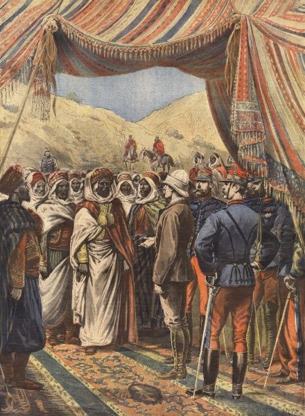 Monsieur Cambon, governor general of Algeria talks to Moroccans at the borders Date: 1897