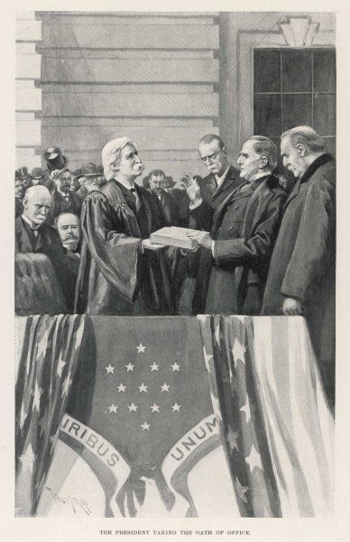 William McKinley takes the oath of office as 25th President - a job he will hold till he is assassinated by an anarchist