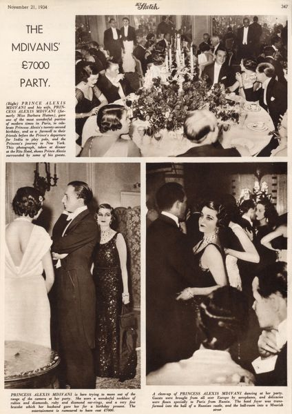 Page from the Sketch with photographs of 'one of the most wonderful parties of modern times' held at the Ritz Hotel in Paris by Prince Alexis Mdivani and his wife, formerly Miss Barbara Hutton, the Woolworth heiress