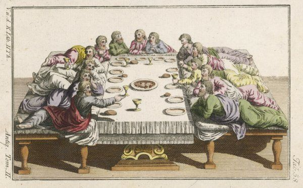 This is a probable depiction of a meal around the time of Jesus : guests would more likely have been lying than sitting up at table