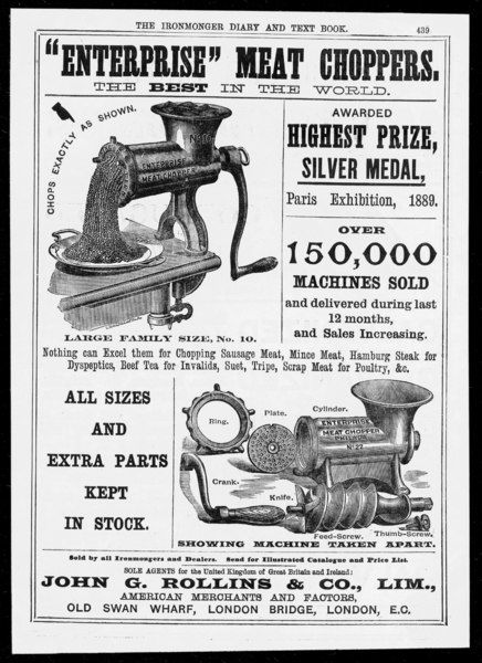 The Enterprise meat chopper, or mincer, is apparently the best in the world