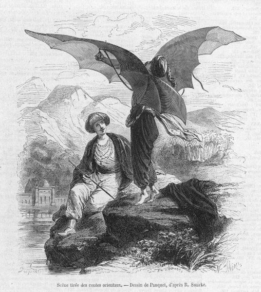 The mechanist tries to use his wings to fly. A scene from Samuel Johnson's novella, Rasselas, Prince of Abyssinia