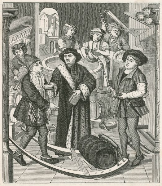 The Bishop of Tournai, Belgium, receiving the Tithe of beer granted by King Chilperic