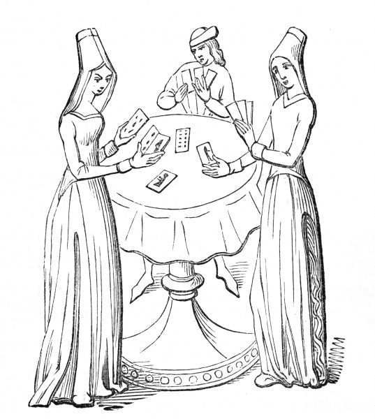 Three ladies stand and play cards around a table Date: 15th century